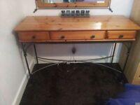 Antique pine/metal Dressing table/Desk