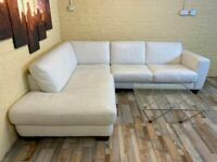 INCANTO Snow White Leather Corner Sofa