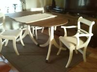 Dining table in with 4 chais painted by ivory colour brand refurbished