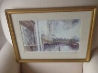 Tom Johnstone , local artist , watercolour paintings , a selection of 3 , framed and mounted .