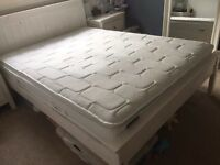 White wooden double bed frame only