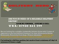 DO YOU WANT A PROFESSIONAL DELIVERY DRIVER FOR YOUR TAKEAWAY