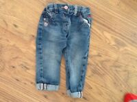 Girls clothes bundle aged 12-18 months (x2 t-shirts and one pair of pretty jeans)