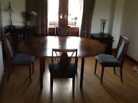 G Plan Dining room table and chairs and matching furniture