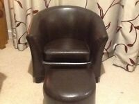 Child's brown leather faced tub chair & foot stool