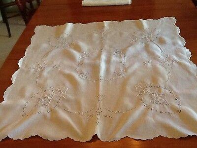 "Antique tablecloth cotton embroidery/cutwork scalloped edge 34"" square"