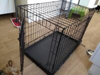 Metal fold flat dog, pet crate with plastic tray / cage Medium