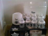 Tommee Tippee electric steriliser, bottle warmer & bottles