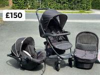 EXDISPLAY HAUCK MALIBU TRIO SET TRAVEL SYSTEM PRAM PUSHCHAIR BLACK BIRTH TO 15 kg £150