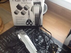 Electric hair trimmer with two combs and blade guard