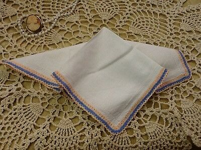 Vintage Ladies Hanky Crochet Trim + Rows of Pulled Thread Decor Unused - H7
