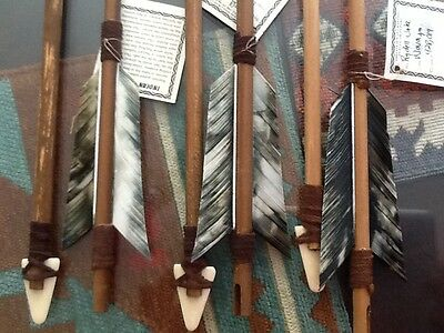 "2 Navajo Arrows 19"" MATCHING GREY Turkey feathers-Leather-Bone carved arrowhead"
