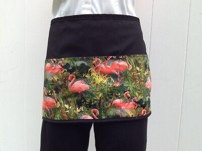 Black Flamingos Tropical Server Waitress Waist Half Apron 3 Pocket Restaurant