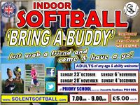 indoor SOFTBALL sessions for BEGINNERS