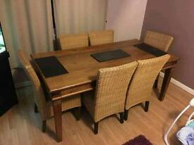 Indian oak dining table and 6 chairs