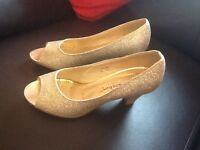 Gold glitter shoes size 4