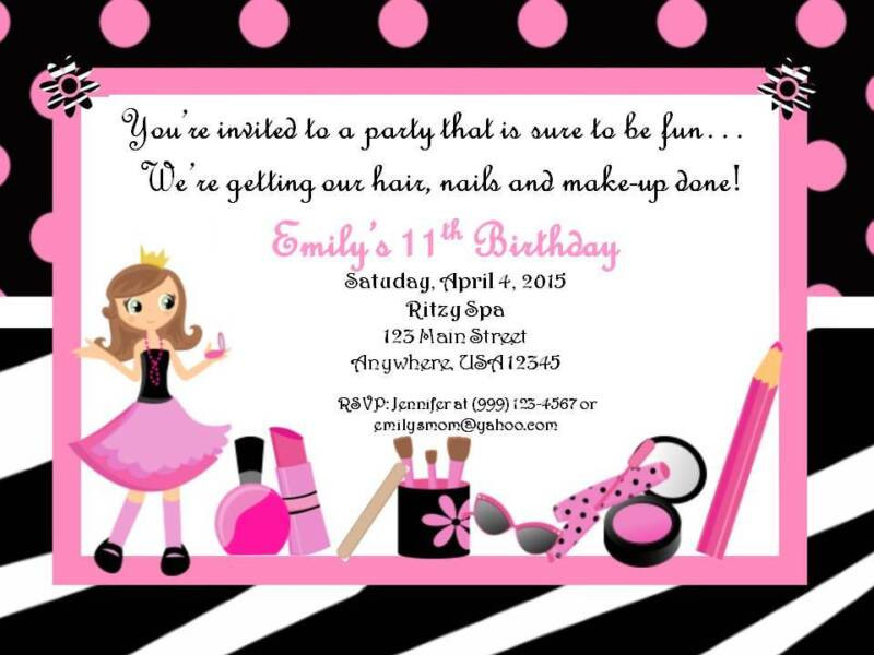 Personalized  Custom Spa Birthday Party Invitation Style A