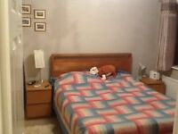 King size solid wooden bed frame and mattress in excellent condition