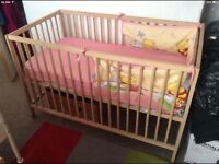 Cot bed and table for baby