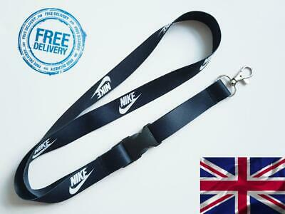 Nike Lanyard Neck Strap for Keys ID Card Holder - BLACK width 20mm, length 52cm