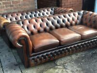 Wanted leather chesterfield suite any colour any condition cash waiting to buy can collect today