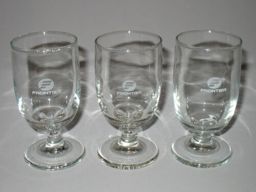 Frontier Airlines Water Wine Beverage Glass Lot of 3