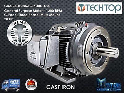 20 Hp Electric Motor Gen Purp 1200 Rpm 3-phase 286tc Cast Iron Nema Prem