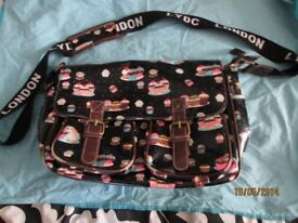 LYDC London black with cupcake design messenger type shoulder bag with matching purse