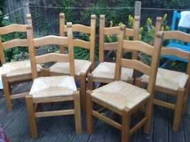 Pine ladder back dining chairs