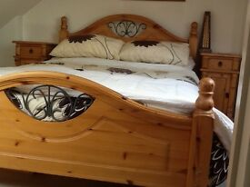 Wooden bedroom suite comprising of headboard with metal detail 2 side cabinets & set of draws