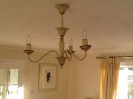 CREAM AND GOLD CHANDELIER STYLE LIGHT FITTING