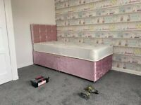 Shinning Stuff    New Single Crushed Velvet Bed With Mattress    Delivery Free