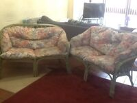 "Two cane conservatory sofas (2 seater) With cushions Very comfortable 4ft wide 32"" deep 31"" high"