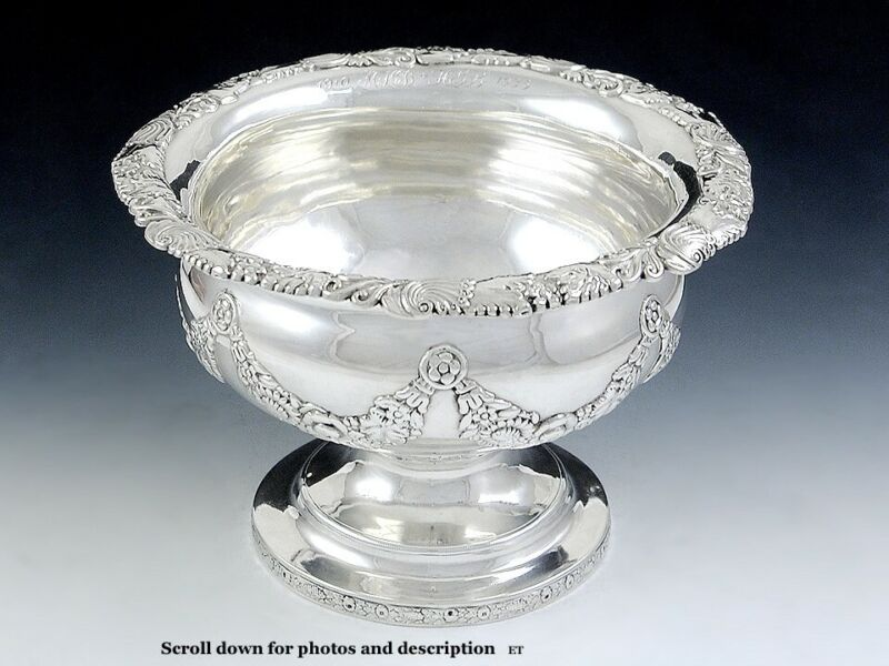 """Antique 1819 Early Kirk Coin Silver Compote Raised Serving Dish 8"""""""