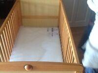 Pine cot good condition new mattress