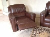 One brown leather reclining armchair