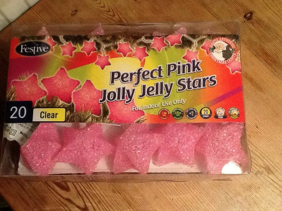 Pink Jelly Stars Indoor Fairy Lights - Brand new in box, made by Festive