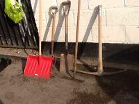 Spade, pick axe, rake, plus more