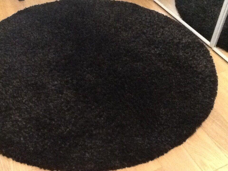 Black shaggy pile rug