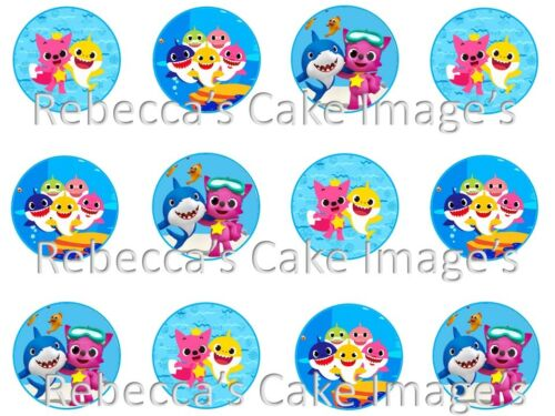EDIBLE BABY SHARK CUPCAKE CAKE TOPPERS ICING SUGAR SHEET PARTY DECORATIONS