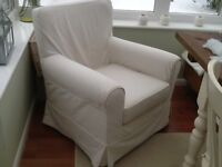 Two IKea Jennylund armchairs with loose covers