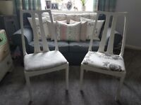 Shabby Chic pair of chairs seats kitchen dinning room