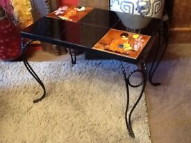 Oriental tiled top small table