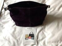 Mimu purple suede handbag with short strap