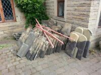 Approx 100 stone roof slates plus some ridge tiles all reasonable condition