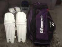 Cricket bag, helmet batting pads and gloves for sale. Excellent Condition