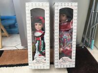 "2 x Leonardo Collection Porcelain Dolls 16"" immaculate boxed"