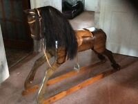 Solid wood full size rocking horse