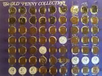Vintage coin collection, old pennys