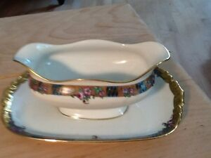 LIMOGES JPL PATTERN POY133 BY JEAN POUYAT - GRAVY BOAT with ATTACHED UNDERPLATE